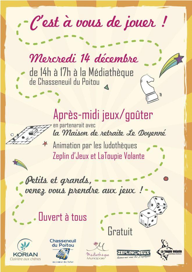 La Toupie Volante & Zéplindejeux à la médiathèque de Chasseneuil le 14 décembre 2016 de 14h à 17h