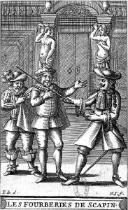 "Frontispiece from a 1682 edition of ""Scapin's Deceits"" by Pierre Brissart"