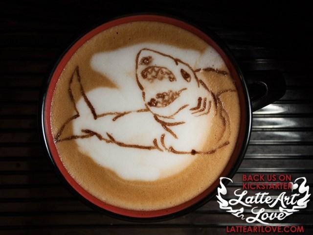 Latte Art - Sharkasaurus