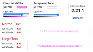 Screenshot of failed accessibility test results on WebAIM fora light link color on white background