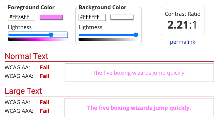 A screenshot of WebAIM's contrast checker shows a light purple color on white background fails accessibility test