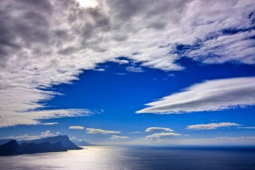 blue skies on blue water