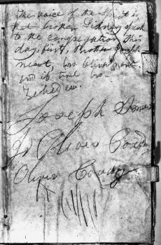 Black and white image of Joseph Smith's handwriting