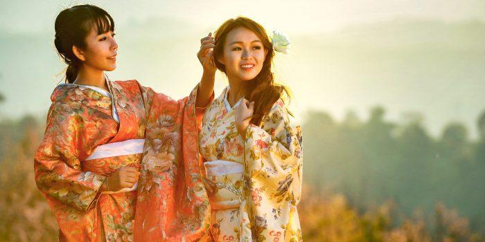 Young Japanese girls in graduation kimono