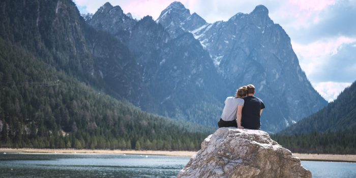 Couple in front of a lake