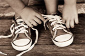 learning to tie shoes