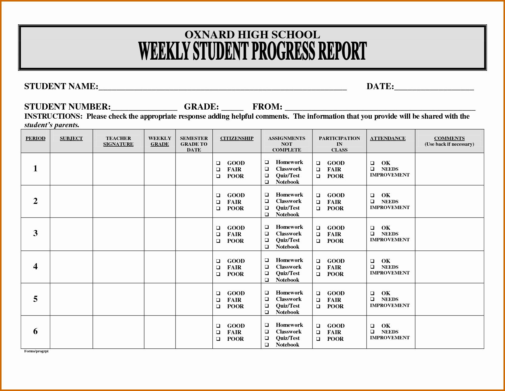 Student Progress Report Template