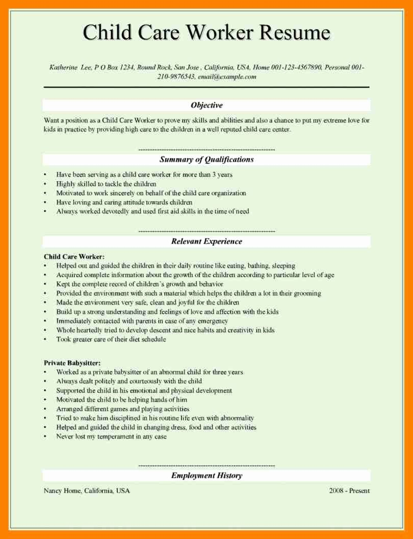 Child Resume 11 Resume For Child Care Latter Example Template