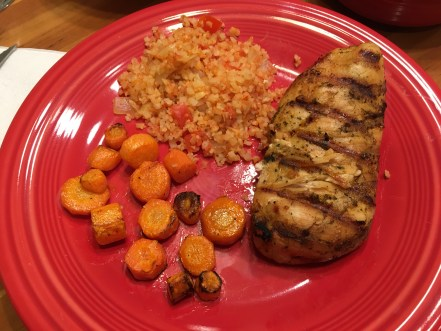 my plate for the evening with roasted carrots and grilled chicken