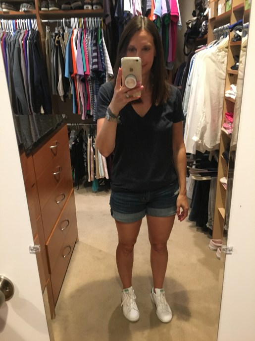 Madewell tee hudson shorts adidas stan smith