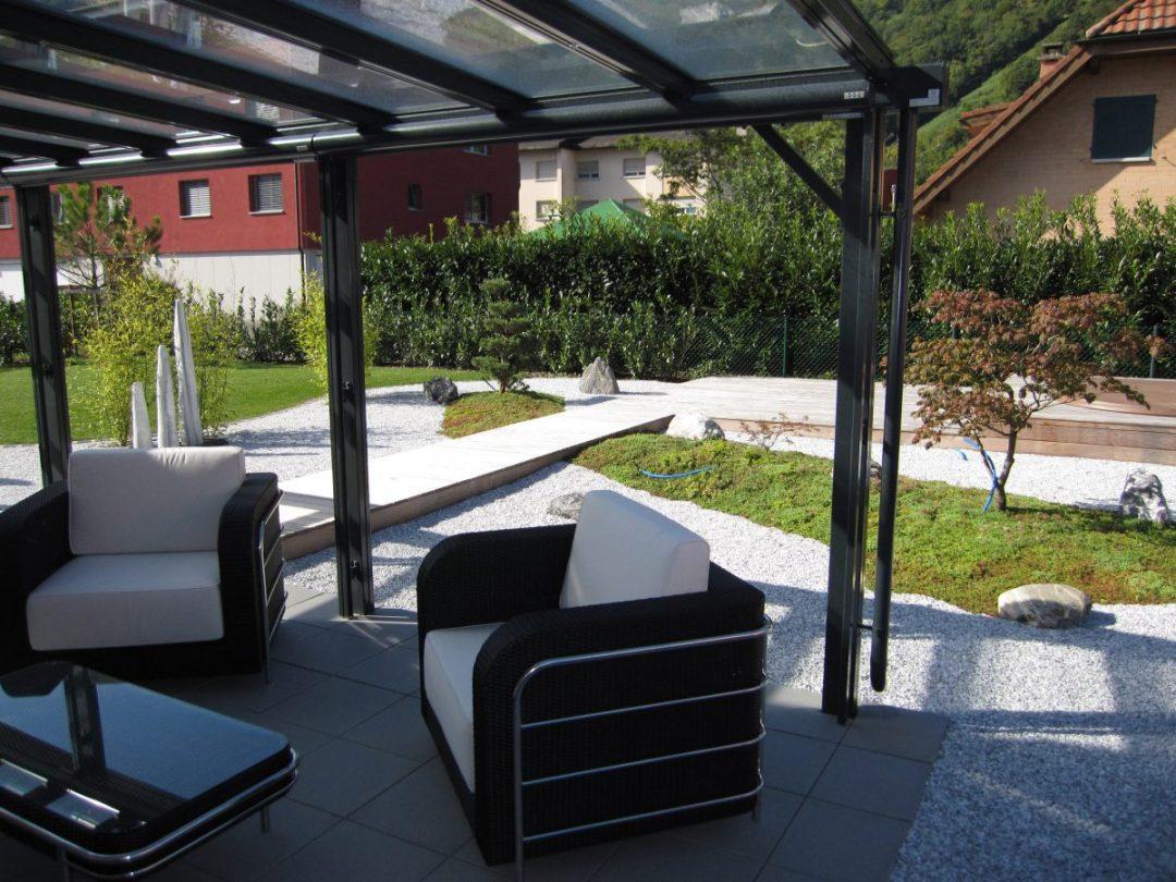Espace zen réalisé par Lattion et Veillard paysagiste en Valais