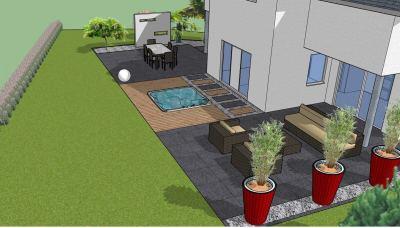 Vue 3D aménagement paysager avec Spa encastré