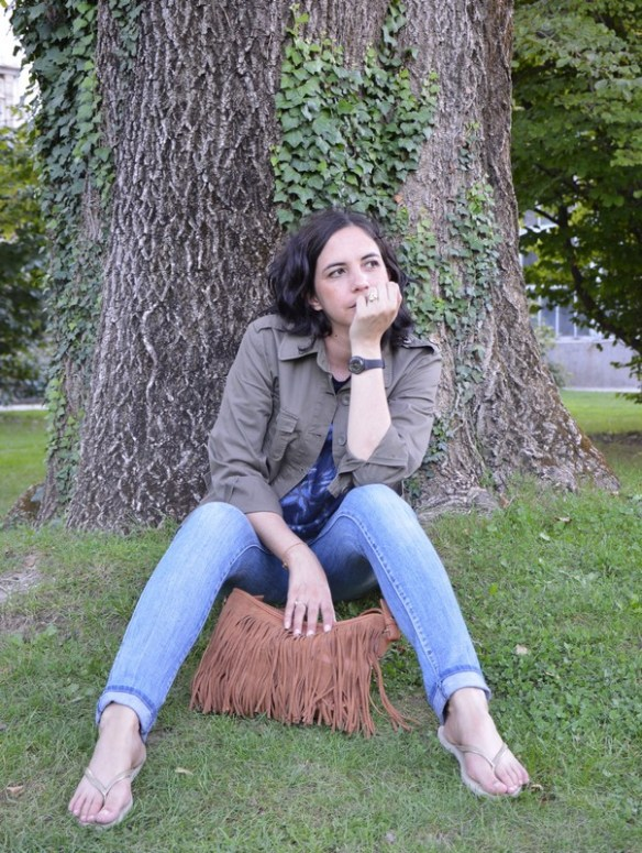 look outfit automne 15 sac franges pimkie sweat seventies h&m