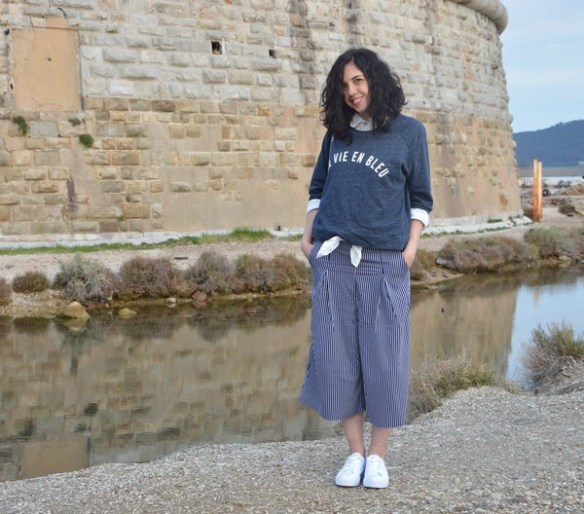 look-outfit-jennyfer-mode-printemps-bleu-marine-jupeculotte