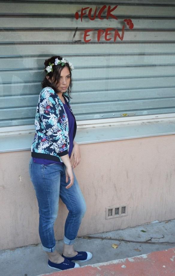 look-tenue-mode-fleur-fleuri-pimkie-bombers-promod