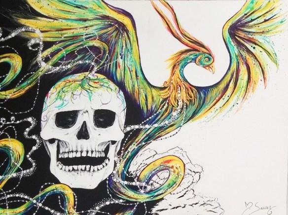 tableau-phoenix-crane-peinture-magalisavary-artiste