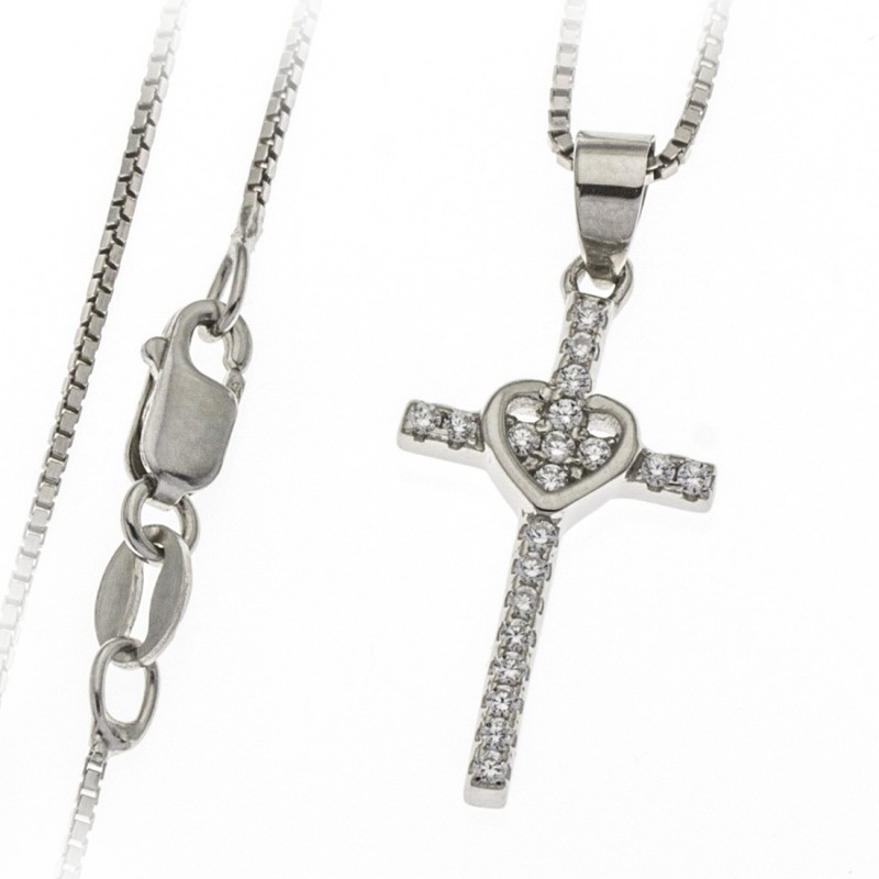 Cross and heart pendant necklace in Sterling silver 925