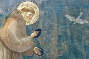 """Particolare dalla """"Predica degli uccelli"""" di Giotto nella basilica superiore di San Francesco ad Assisi"""