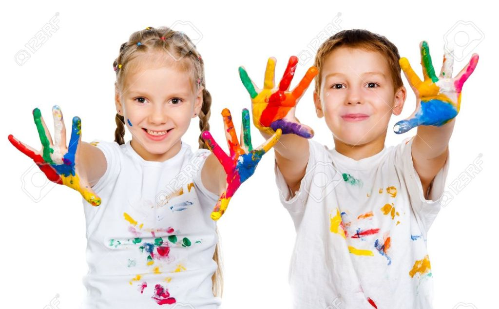 15041239-kids-with-hands-in-paint-on-a-white-background-Stock-Photo-paint-child-boy