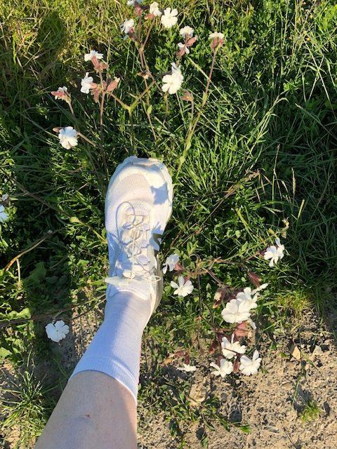 Hier sieht man den neuen Schuh an meinem Fuß