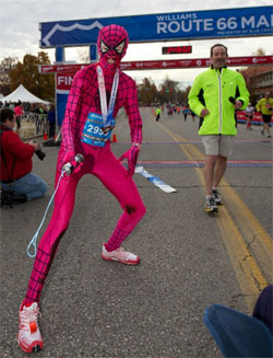 Camille Herron wins Marathon in Spiderwoman Bodysuit