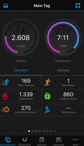 """Übersicht """"Mein Tag"""" in der """"Garmin Connect""""-App"""