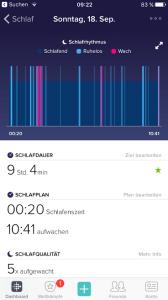 Einsicht in die Schlafdaten kann in der App oder auf dem Dashboard genommen werden