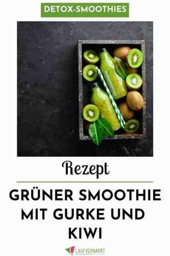 Dieser grüne Smoothie mit Gurke und Kiwi ist auch für Anfänger geeignet und sehr mild. #rezept #smoothie #grünersmoothie #gurke #gesundessen