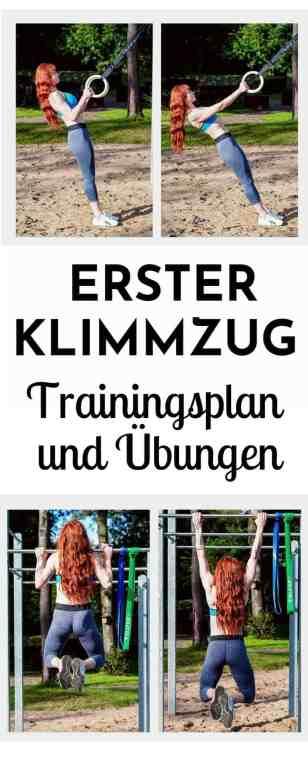 Dein erster #Klimmzug - #Übungen und #Trainingsplan. Hier erhältst du die besten Tipps und #Fitnessübungen, um deinen ersten Klimmzug zu erreichen! Außerdem bekommst du gratis einen Trainingsplan für #Klimmzüge für #Frauen.