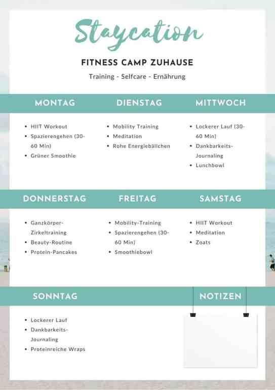 STAYCATION - 7 Tage Plan für dein Fitness Camp zuhause - Training, Self Care & Ernährung