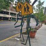 Walking crosswalk sign