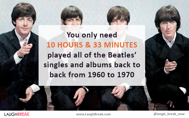 You only need 10 hours & 33 minutes played all of the Beatles' singles and albums back to back from 1960 to 1970