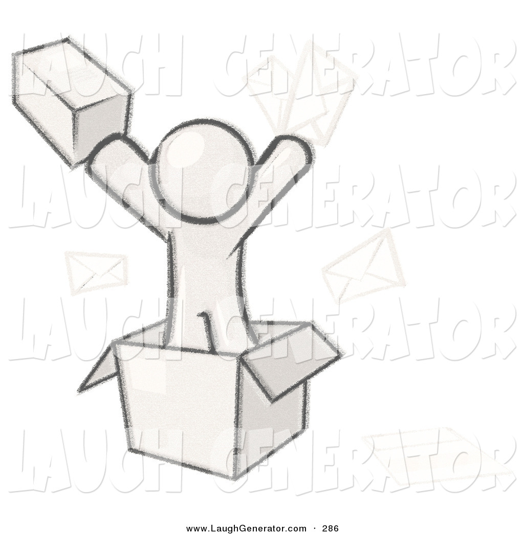 Humorous Clip Art Of A Sketched Design Mascot Man Going