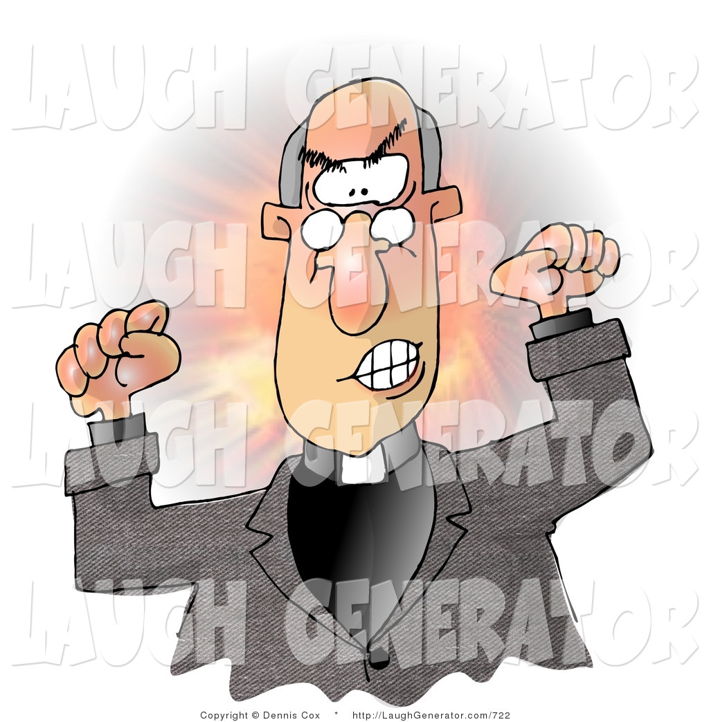 hight resolution of humorous clip art of an angry preacher