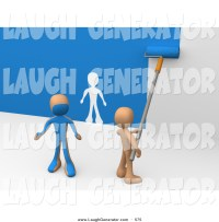 Humorous Clip Art of an Orange Person Using a Roller to