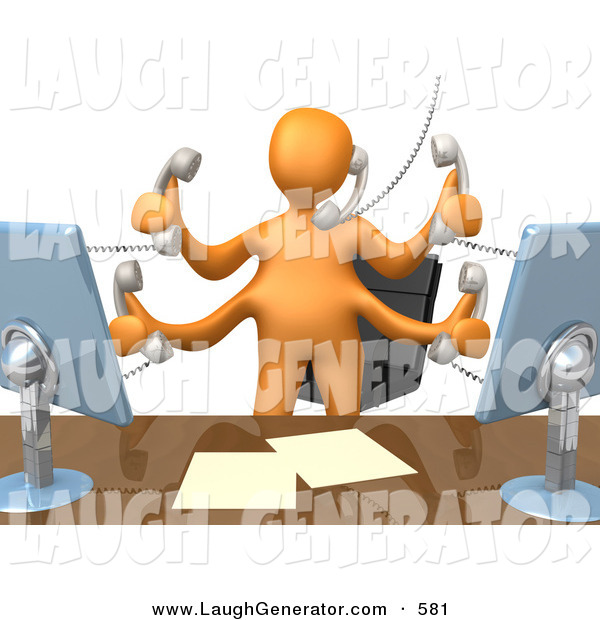 humorous clip art of busy orange