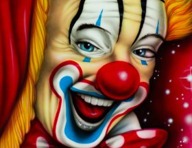 clown, circus, painting