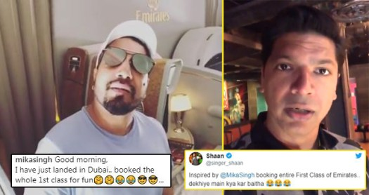 Singer Shaan and fans make fun of Mika Singh who booked entire Business Class For Fun