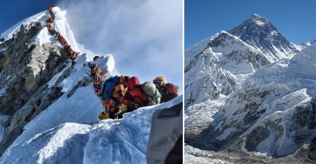 Mt. Everest Is Getting Crowded And This Picture Showing Trekkers Waiting To Summit Will Prove It