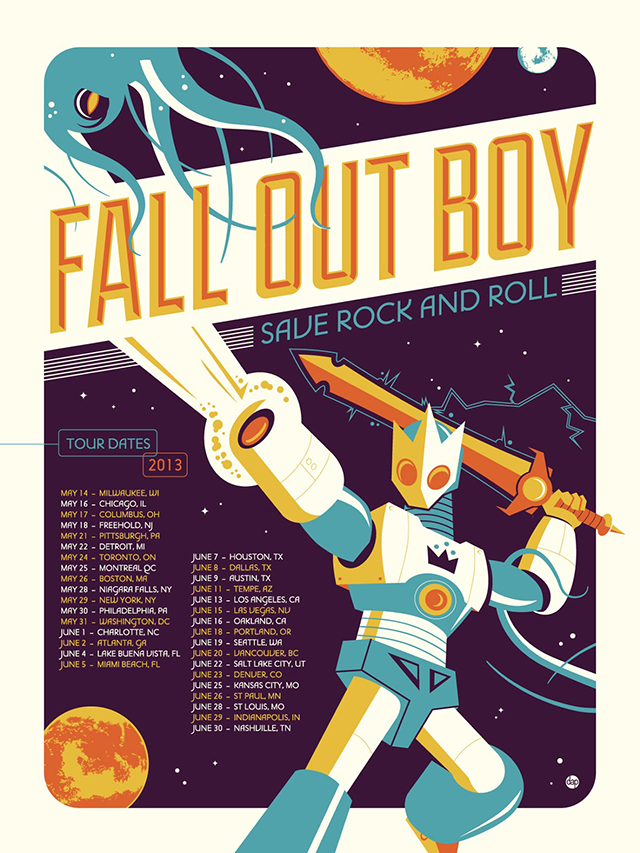 Fall Out Boy Wallpaper Save Rock And Roll Fall Out Boy Save Rock And Roll Tour Poster Designed By
