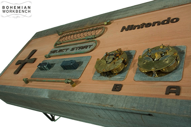 Cool Steampunk Nintendo Controller Coffee Table Made of Recycled Parts