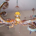 A Spectacular Stained Glass Octopus Chandelier Featuring Detachable Tentacles That Light-Up