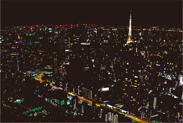 Nighttime Cityscapes Made of Stickers and Paint
