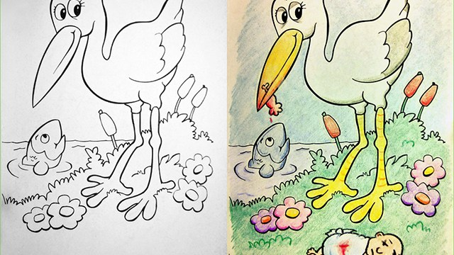 Coloring Book Corruptions Innocent Childrens Pages Turned Into Something Sinister