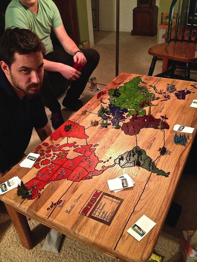 playable risk game board carved into