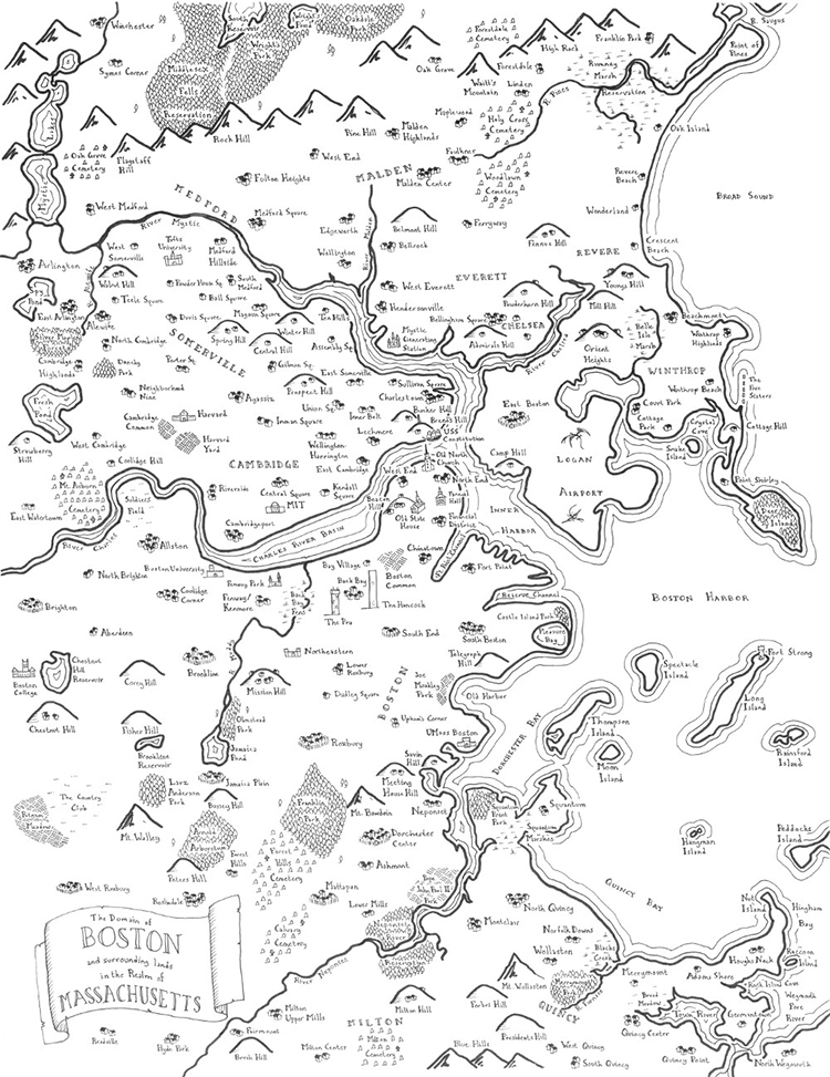 Fantasy Maps of Real United States Cities Drawn in the