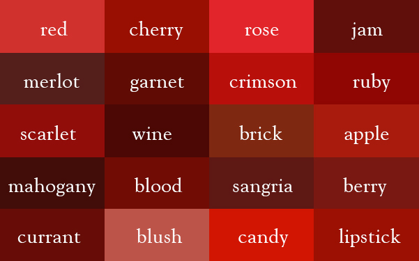 Color Thesaurus A Visualization of the Various Names for