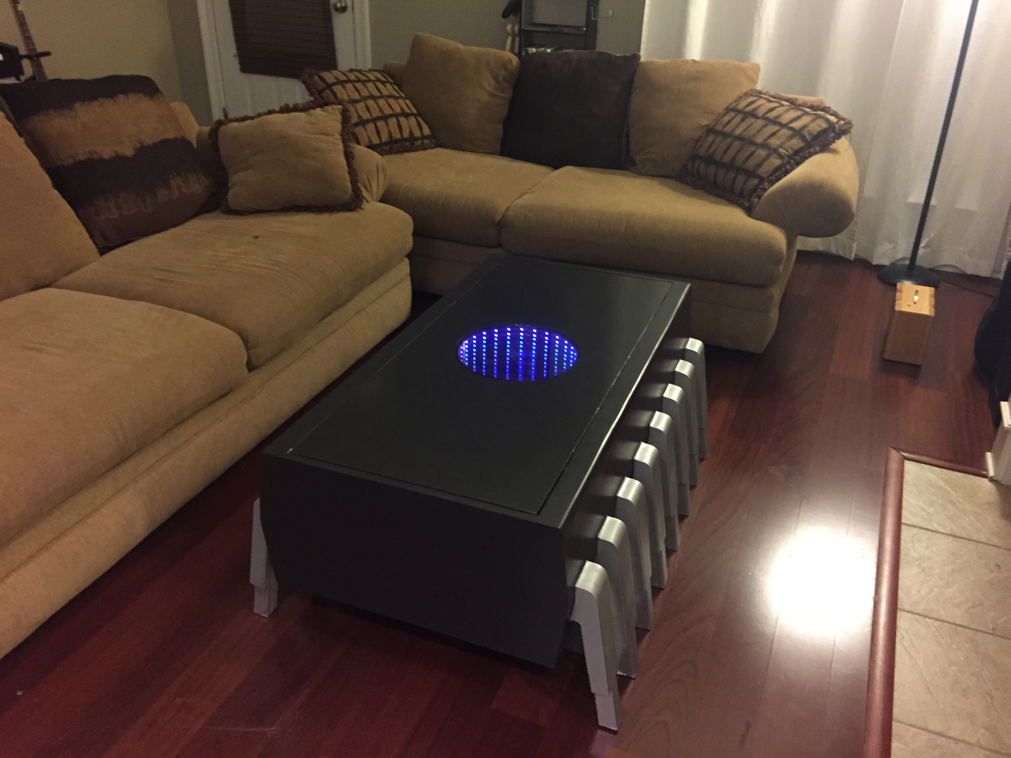 a memory chip coffee table with an