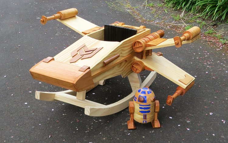 wooden rocking chair plans bergere dining chairs man builds a 'star wars' ride-on rocker toy that looks like an x-wing starfighter, comes ...