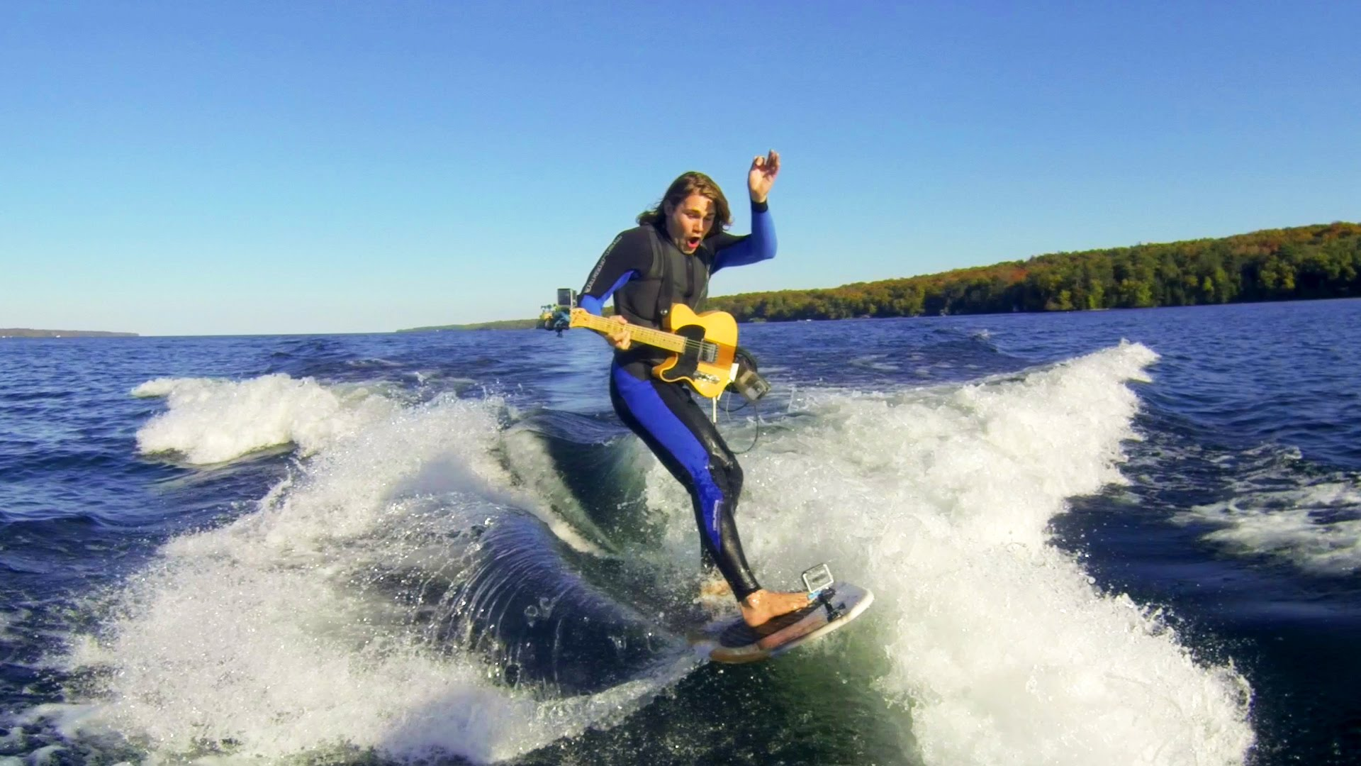 Girl On Surfboard Wallpaper Gopro Video Of A Guitar Player Shredding While Riding A